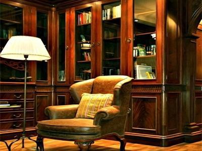 Помещение домашней библиотеки. мебель и шкафы для библиотеки.